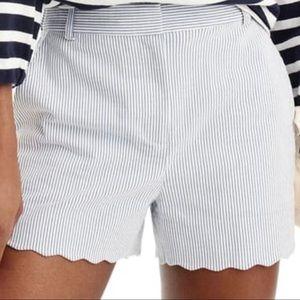 J.Crew Seersucker Striped Shorts Scalloped Trim